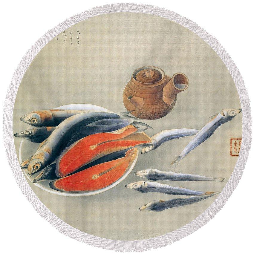 Tsuchida Bakusen Round Beach Towel featuring the painting Still Life Salmon Slices And Sardines by Tsuchida Bakusen