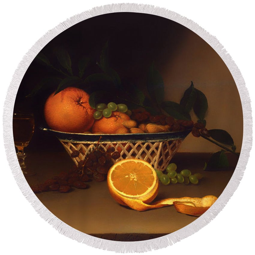 Painting Round Beach Towel featuring the painting Still Life With Oranges by Mountain Dreams