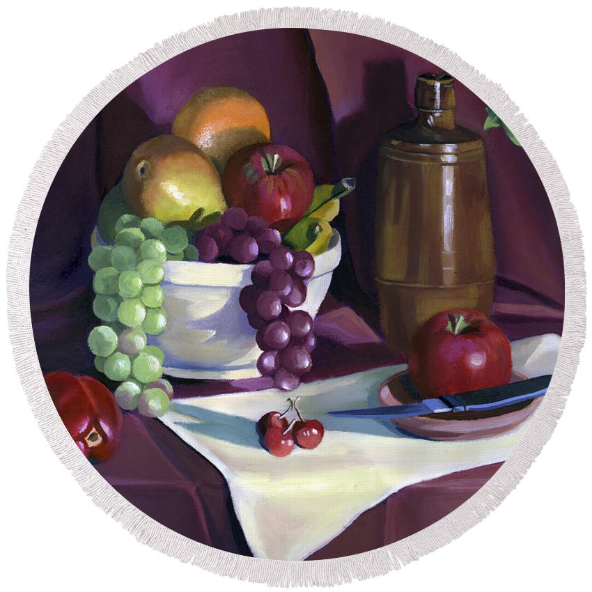 Fine Art Round Beach Towel featuring the painting Still Life with Apples by Nancy Griswold