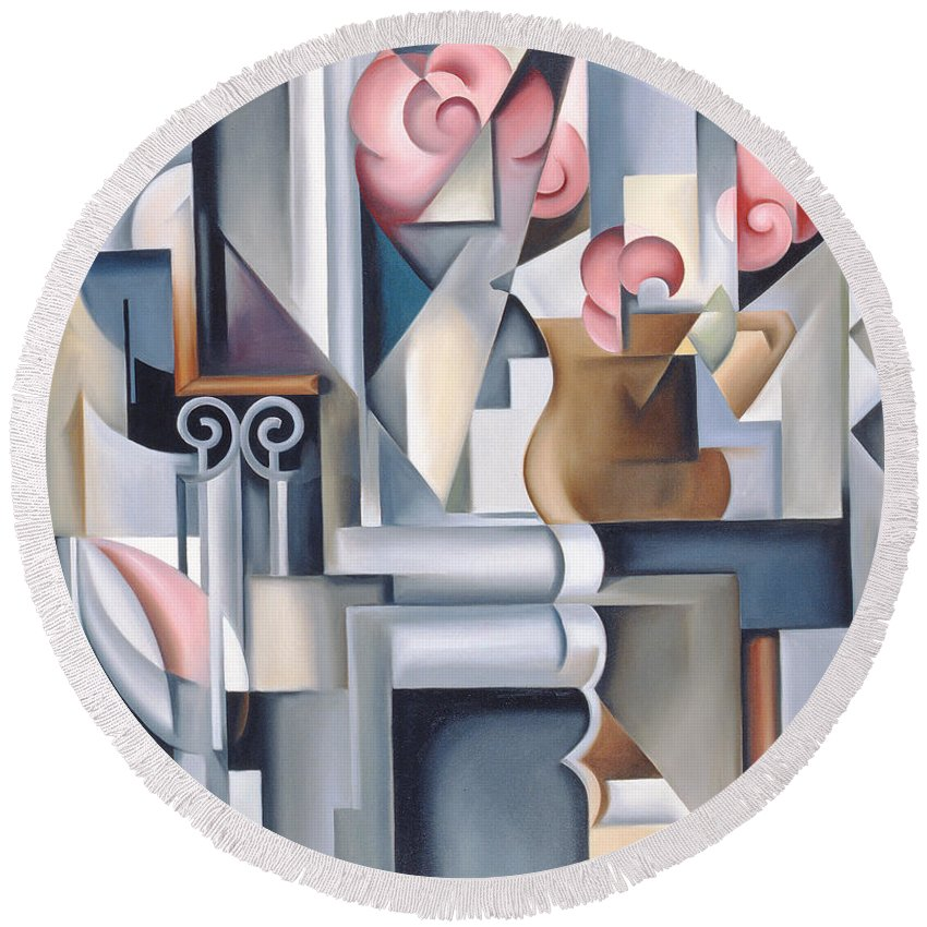 Still Round Beach Towel featuring the painting Still Life With Brown Jug by Catherine Abel