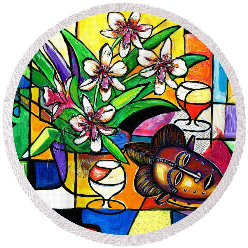 Everett Spruill Round Beach Towel featuring the painting Still LIfe with Orchids and African Mask by Everett Spruill