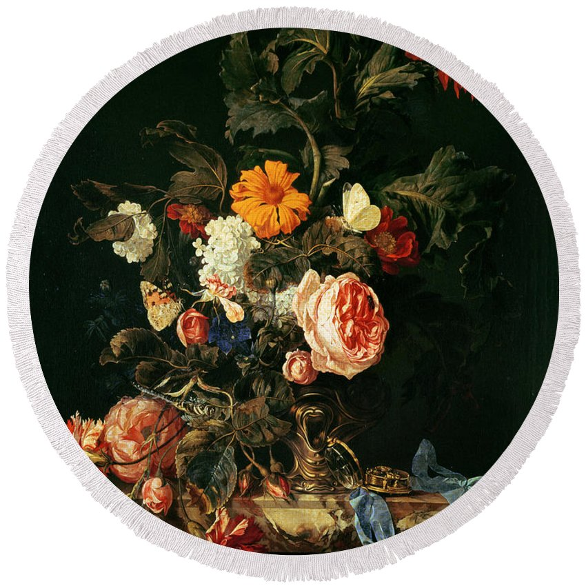 Ribbon Round Beach Towel featuring the photograph Still Life With Poppies And Roses by Willem van Aelst