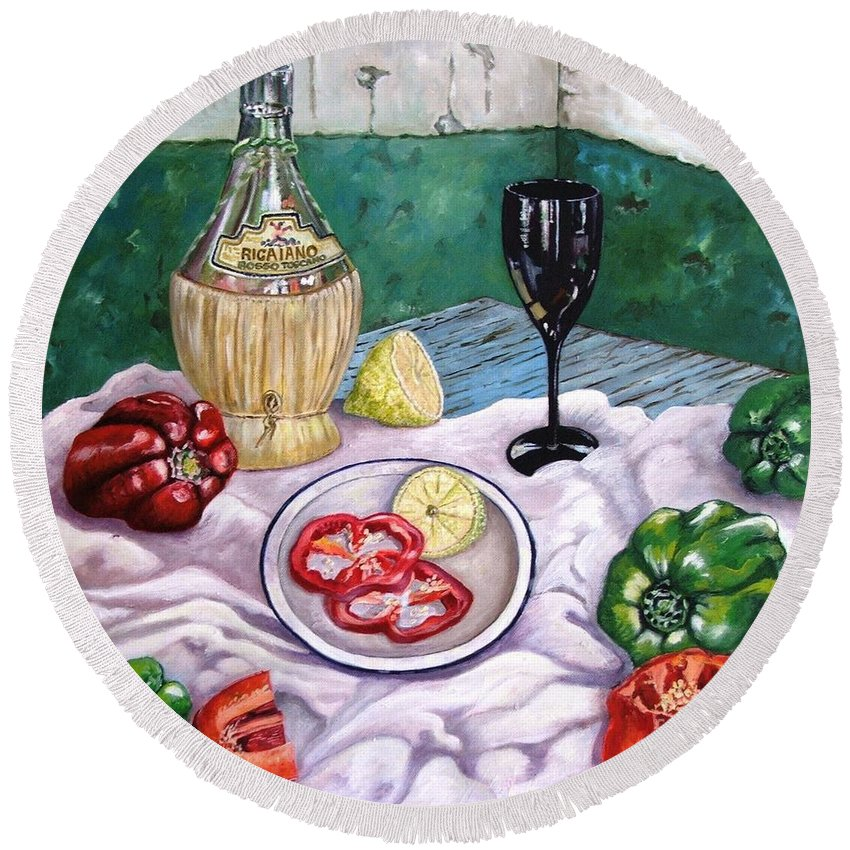 Still Life With Wine And Capsicum Round Beach Towel featuring the painting Wine And Capsicum by Caroline Street