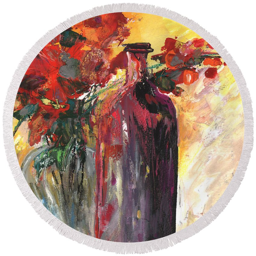 Flowers Round Beach Towel featuring the painting Still Live With Flowers Vase And Black Bottle by Miki De Goodaboom
