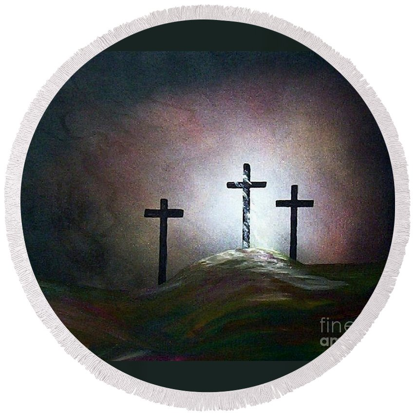 Jesus Round Beach Towel featuring the painting Still The Light by Eloise Schneider