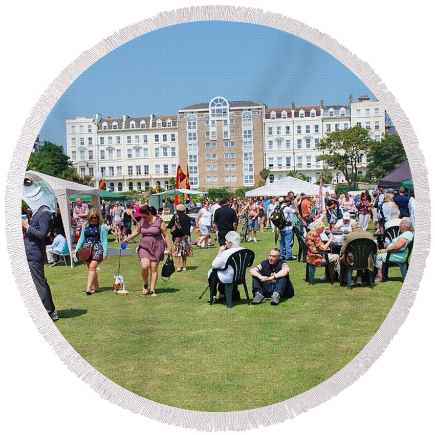 Entertainment Round Beach Towel featuring the photograph St.leonards Festival England by David Fowler