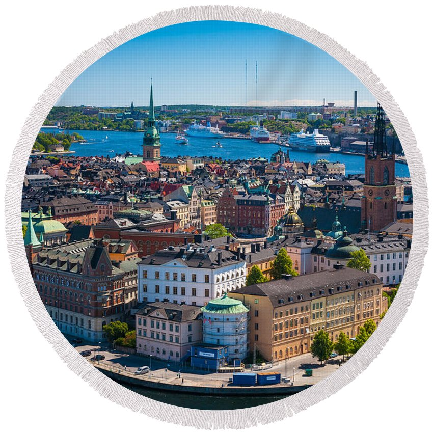 Architectural Round Beach Towel featuring the photograph Stockholm From Above by Inge Johnsson
