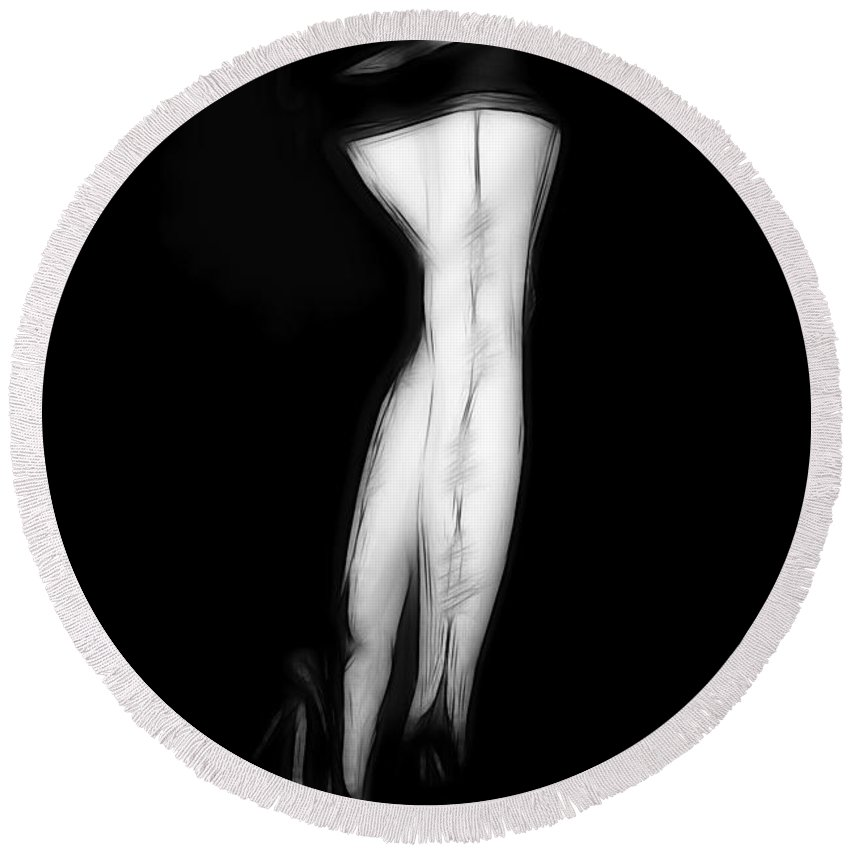 Stockings Lingerie Legs Sexy Erotic Black White Pencil Drawing Painting Woman Female Girl High Heels Sensual Devotion Round Beach Towel featuring the painting Stockings In The Night by Steve K