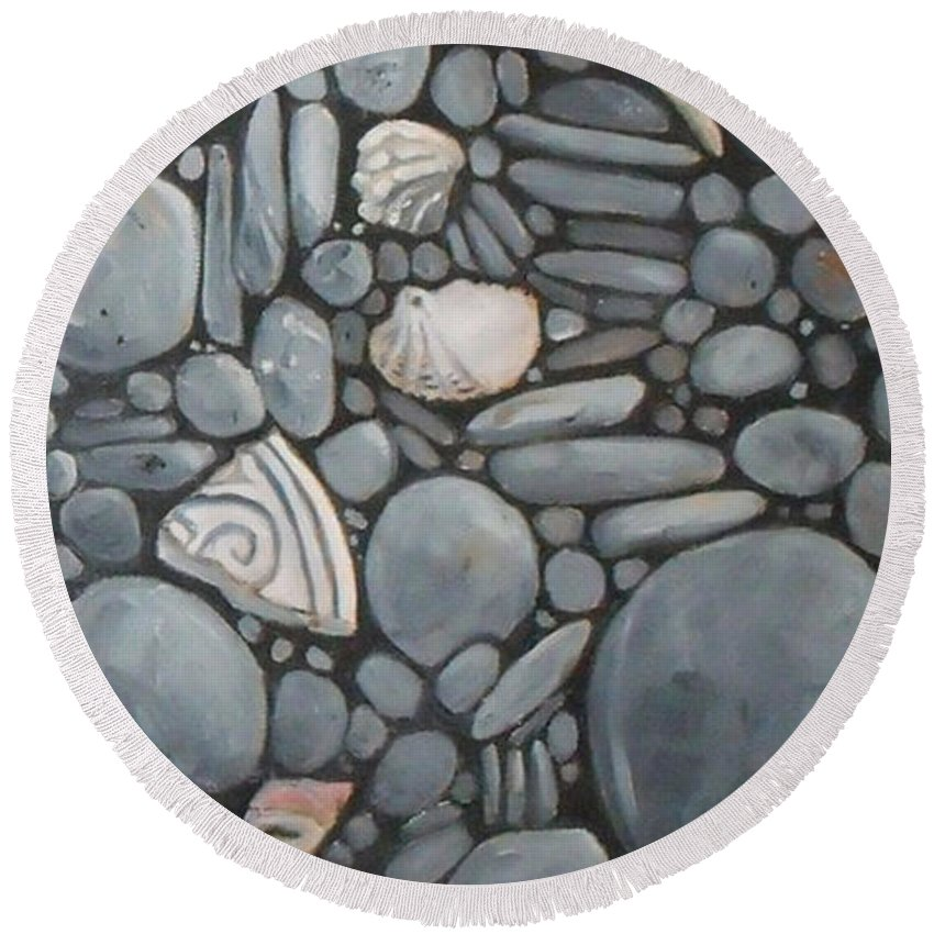 Stones Round Beach Towel featuring the painting Stone Beach Keepsake Rocky Beach Shells And Stones by Mary Hubley