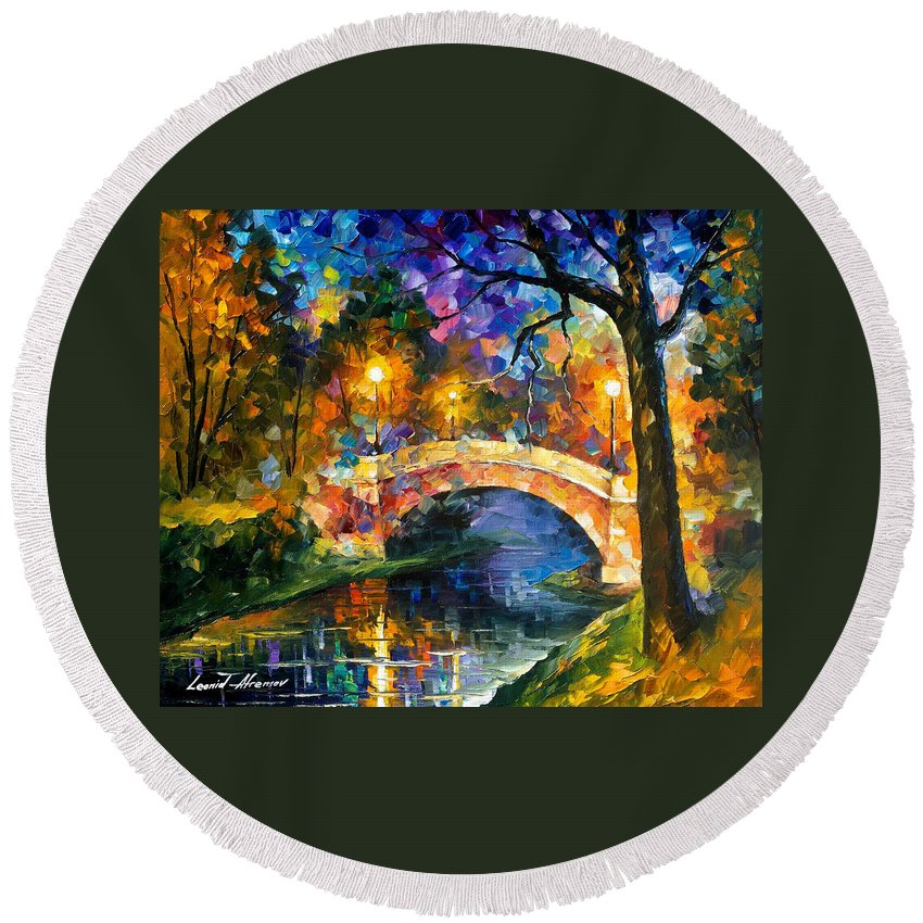 Oil Paintings Round Beach Towel featuring the painting Stone Bridge - Palette Knife Oil Painting On Canvas By Leonid Afremov by Leonid Afremov