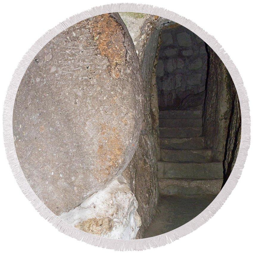 Derinkuyu Round Beach Towel featuring the photograph Stone Door by Bob Phillips