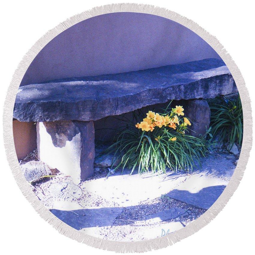 Backyard Round Beach Towel featuring the photograph Stone Slab Bench 1 by Tamara Kulish