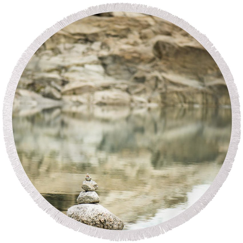 2014 Round Beach Towel featuring the photograph Stone Stack Pool by Anne Gilbert