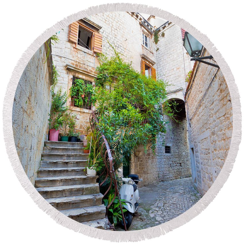 Trogir Round Beach Towel featuring the photograph Stone Streets Of Old Trogir by Brch Photography