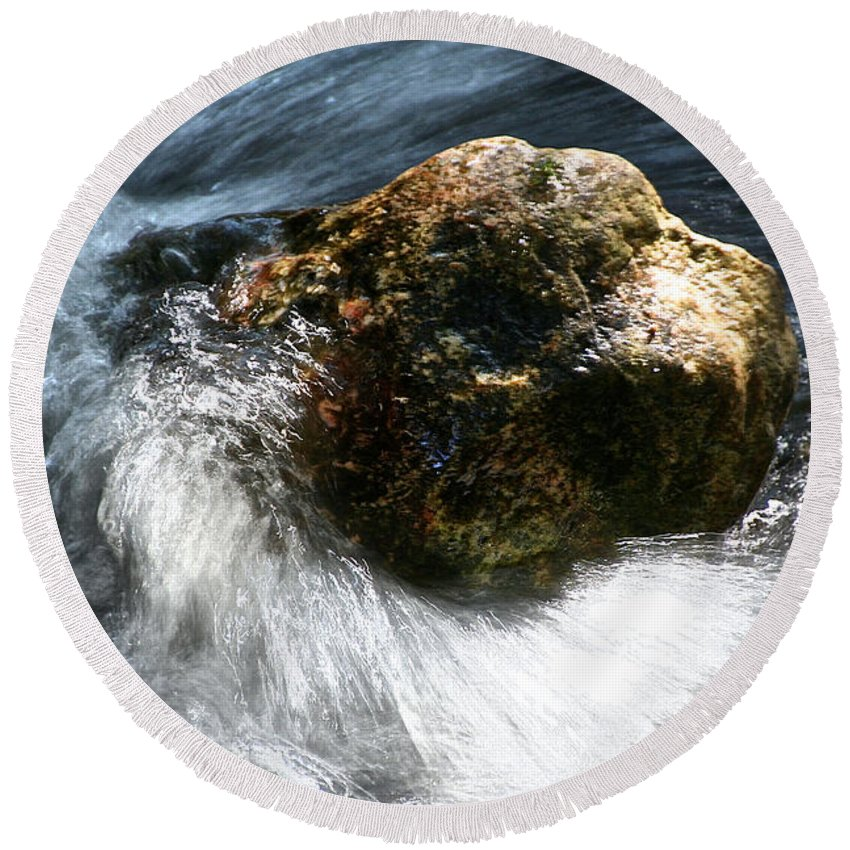 Water Round Beach Towel featuring the photograph Stone by Susan Herber