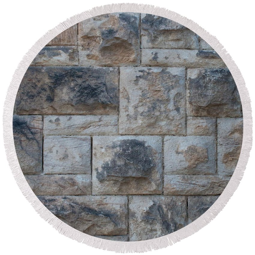 Stone Wall Round Beach Towel featuring the photograph Stone Wall by Tikvah's Hope