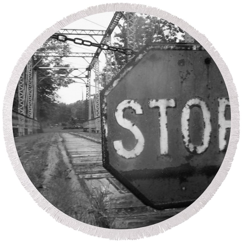 Stop Sign Round Beach Towel featuring the photograph Stop Sign by Michael Krek