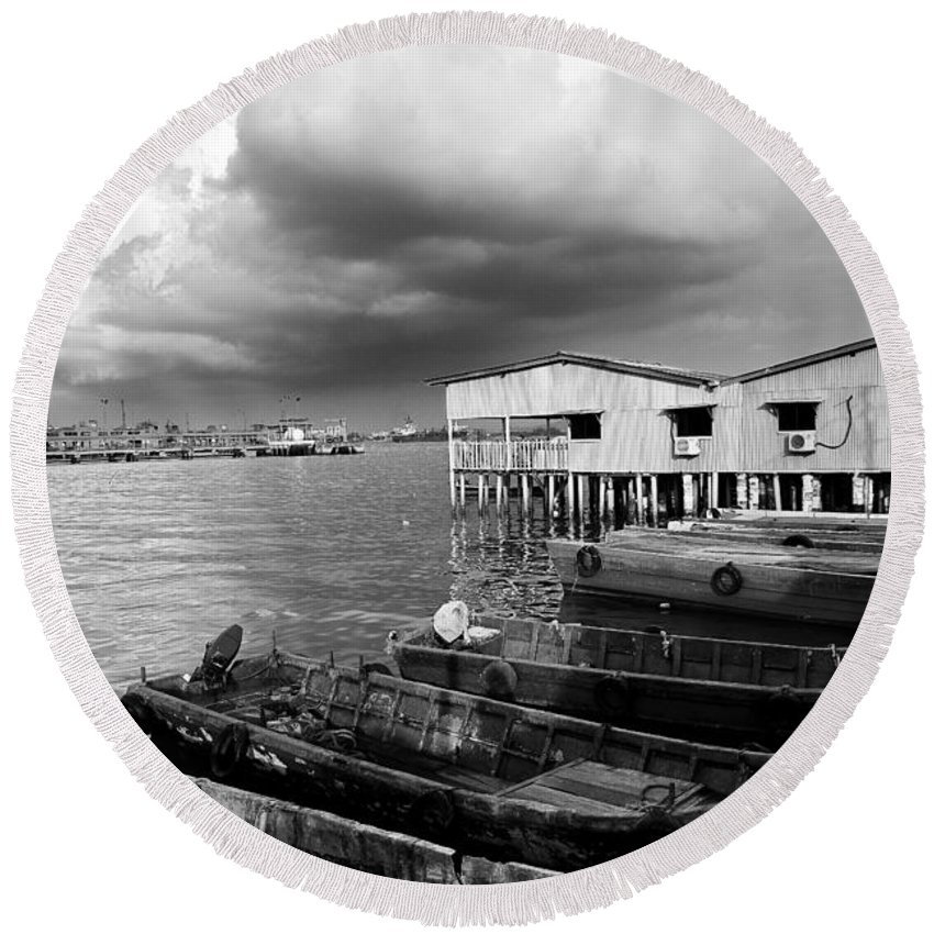 Photography Round Beach Towel featuring the photograph Storm Approaching by Ivy Ho