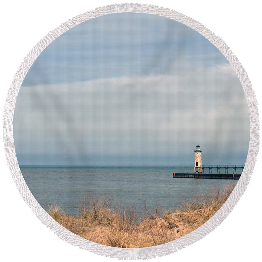 Manistee Round Beach Towel featuring the photograph Storm Brewing by Linda Kerkau