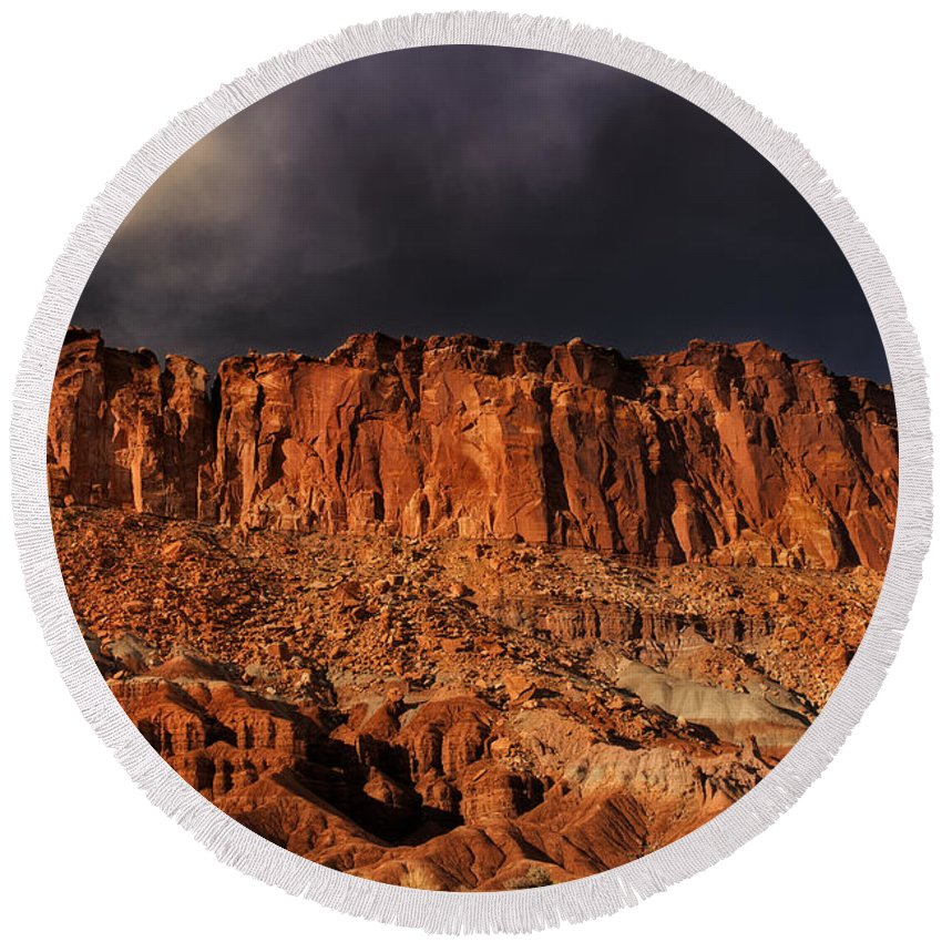 North America Round Beach Towel featuring the photograph Storm Clouds Capitol Reef National Park Utah by Dave Welling