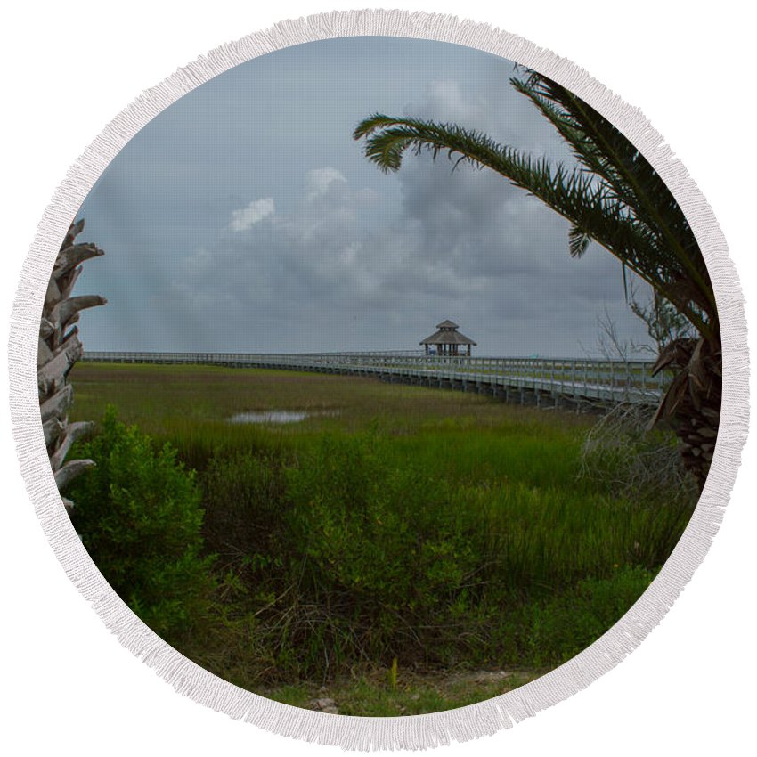 Texas Round Beach Towel featuring the photograph Storm Clouds Near Port Lavaca by JG Thompson