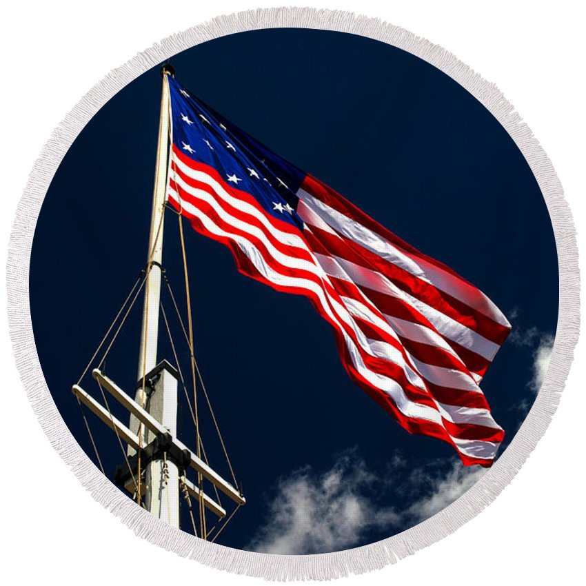 Storm Flag Round Beach Towel featuring the photograph Storm Flag At Fort Mchenry by Bill Swartwout Fine Art Photography