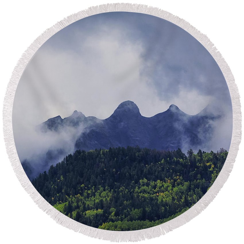 View Round Beach Towel featuring the photograph Storm In The San Juan Mountains by Janice Pariza