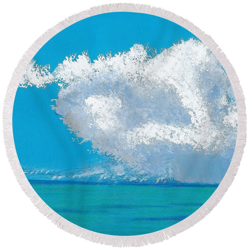 Beach Round Beach Towel featuring the painting Storm Off The Beach by D Hackett
