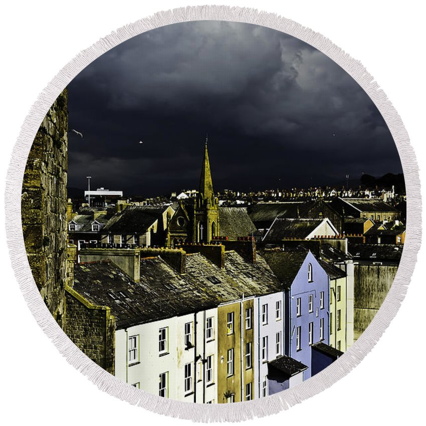 Travel Round Beach Towel featuring the photograph Storm Over Conwy by Elvis Vaughn