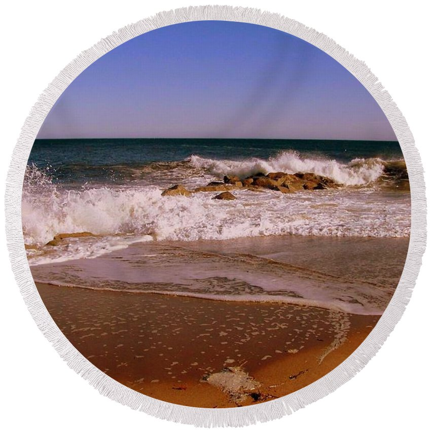 Water In Motion Round Beach Towel featuring the photograph Storm Over by Eunice Miller