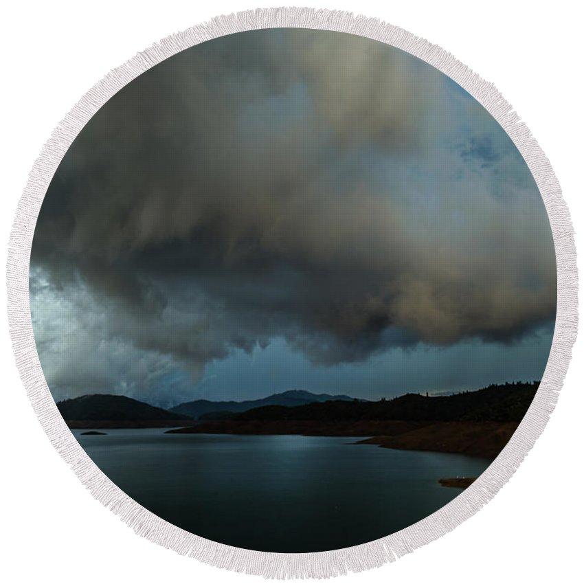 Stormy Round Beach Towel featuring the photograph Storm Over Lake Shasta by Along The Trail