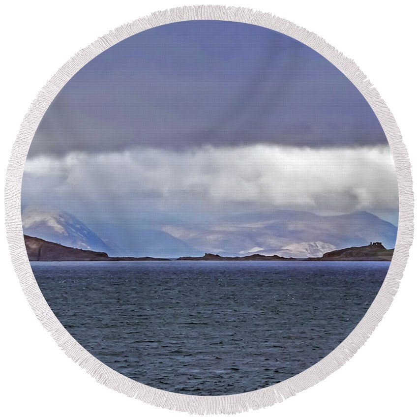 Travel Round Beach Towel featuring the photograph Storm Over Oban Bay by Elvis Vaughn