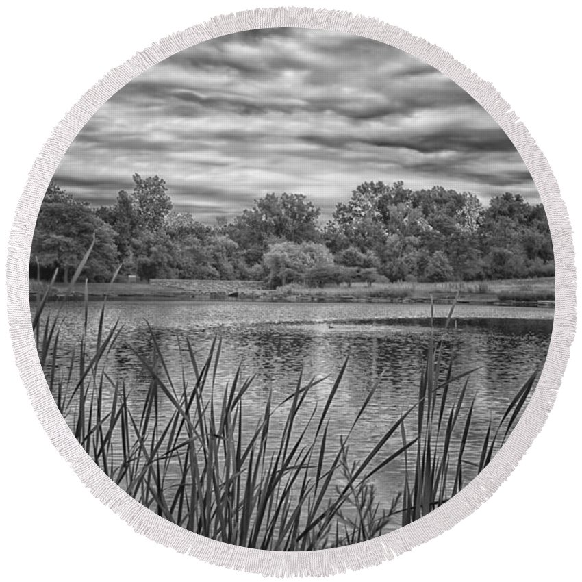 Pond Round Beach Towel featuring the photograph Storm Passing The Pond In Bw by Thomas Woolworth