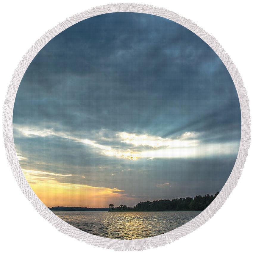 Round Beach Towel featuring the photograph Storm Rolling In by Cheryl Baxter