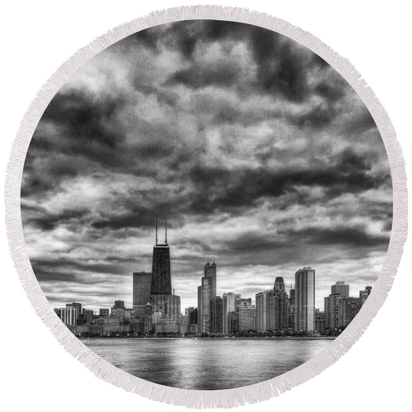 Chicago Round Beach Towel featuring the photograph Storms Over Chicago by Margie Hurwich