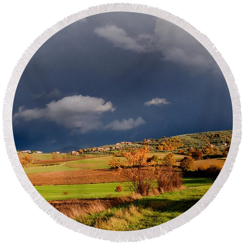 Storm Round Beach Towel featuring the photograph Stormy Countryside by Tim Holt