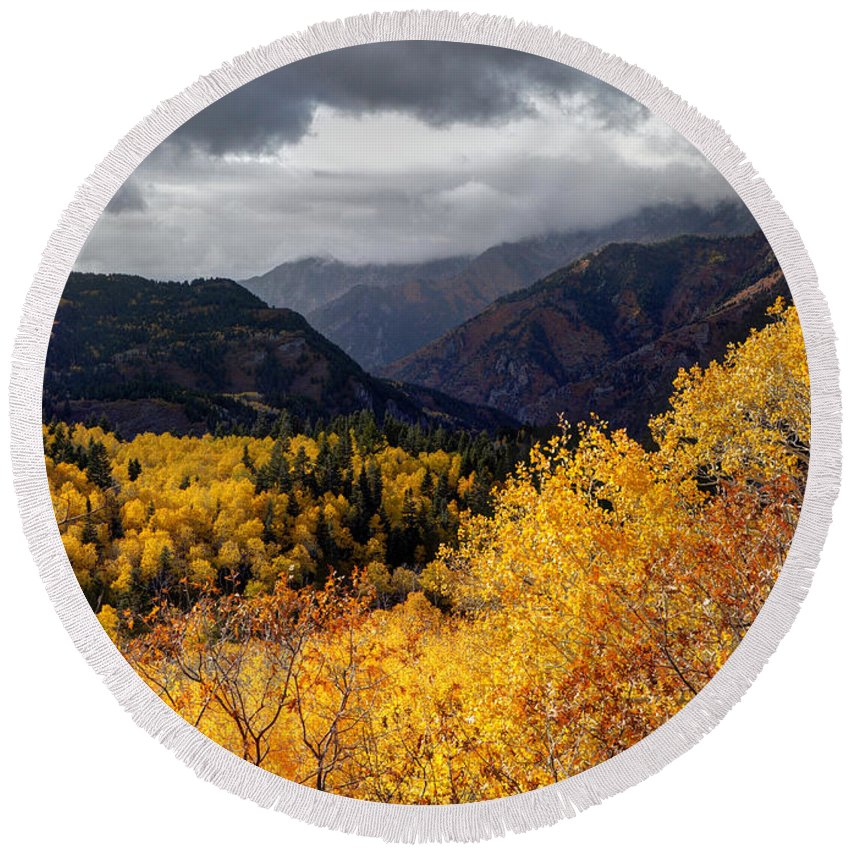 Wasatch Mountains Round Beach Towel featuring the photograph Stormy Fall Along The Alpine Loop - Utah by Gary Whitton