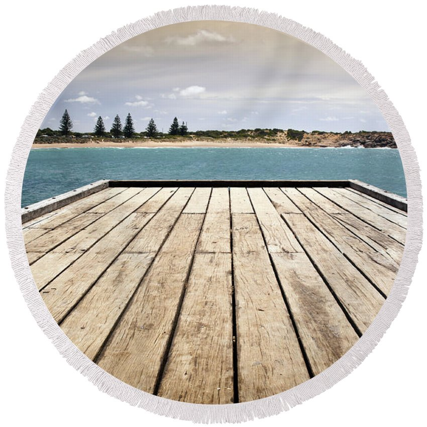 South Australia Round Beach Towel featuring the photograph Stormy Jetty by Tim Hester