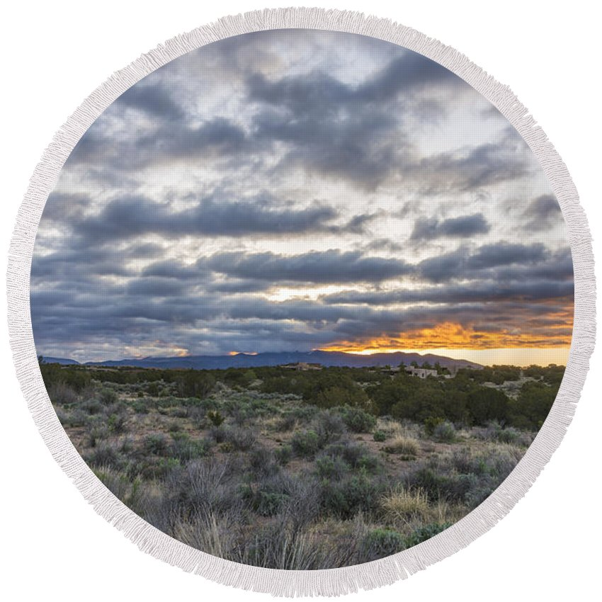 Sangre De Christo Santa Fe Sunrise Northern New Mexico Nm Round Beach Towel featuring the photograph Stormy Santa Fe Mountains Sunrise - Santa Fe New Mexico by Brian Harig