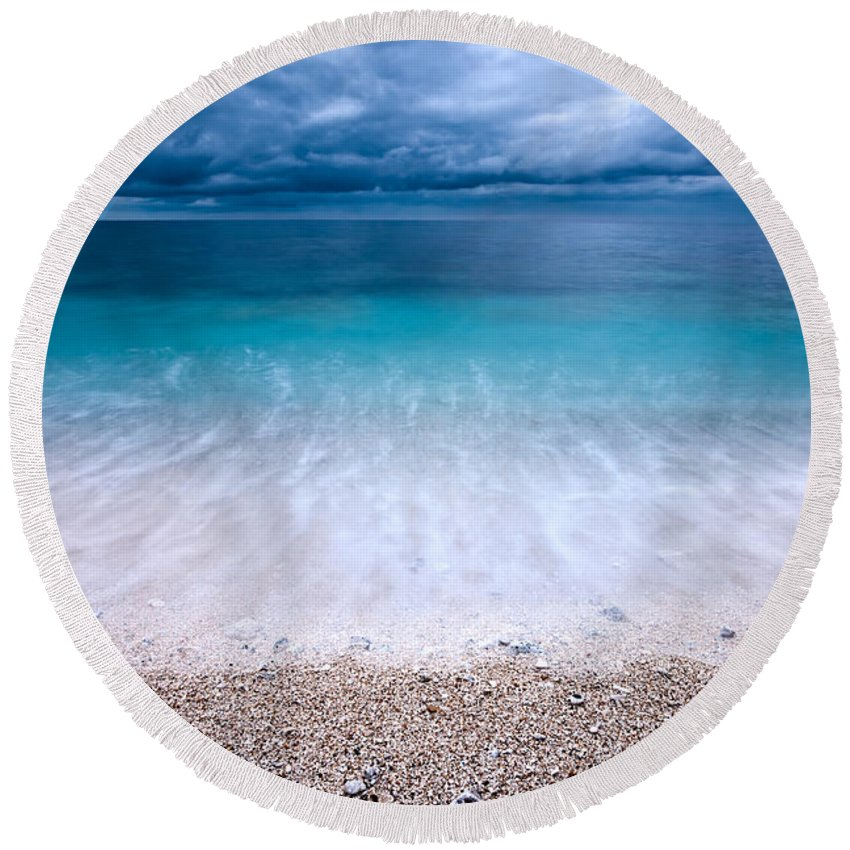 Atlantic Round Beach Towel featuring the photograph Stormy Seascape by Luciano Mortula