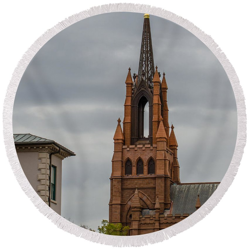 Church Steeple Round Beach Towel featuring the photograph Stormy Steeple by Dale Powell