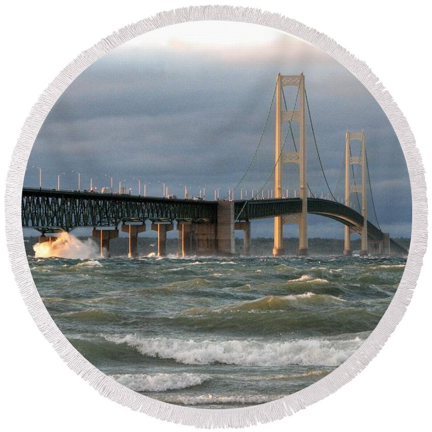 Storm Round Beach Towel featuring the photograph Stormy Straits of Mackinac by Keith Stokes
