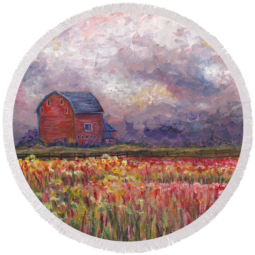 Storm Round Beach Towel featuring the painting Stormy Sunflower Farm by Nadine Rippelmeyer