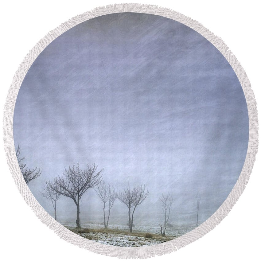 Textures Round Beach Towel featuring the photograph Stormy Wheather by Guido Montanes Castillo