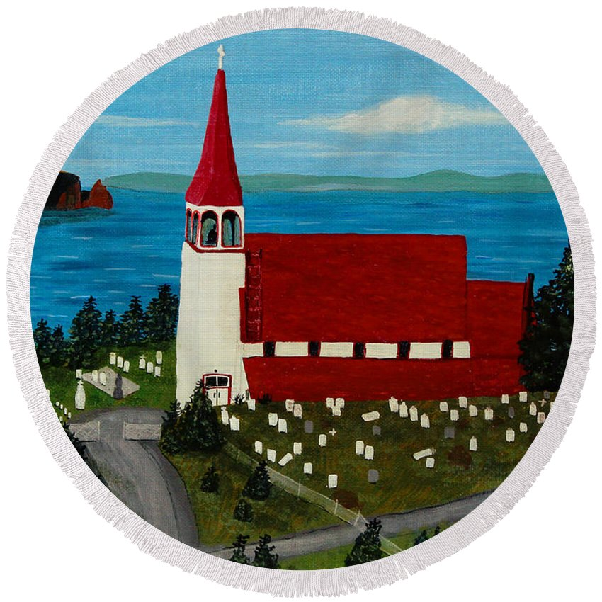Barbara Griffin Round Beach Towel featuring the painting St.philip's Church 1999 by Barbara Griffin