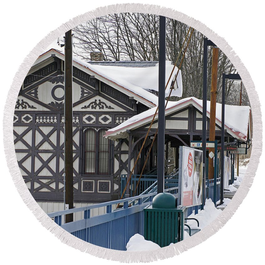 Famous Mainline Strafford Train Station. Victorian Architecture Round Beach Towel featuring the photograph Stranded In Strafford by Ira Shander