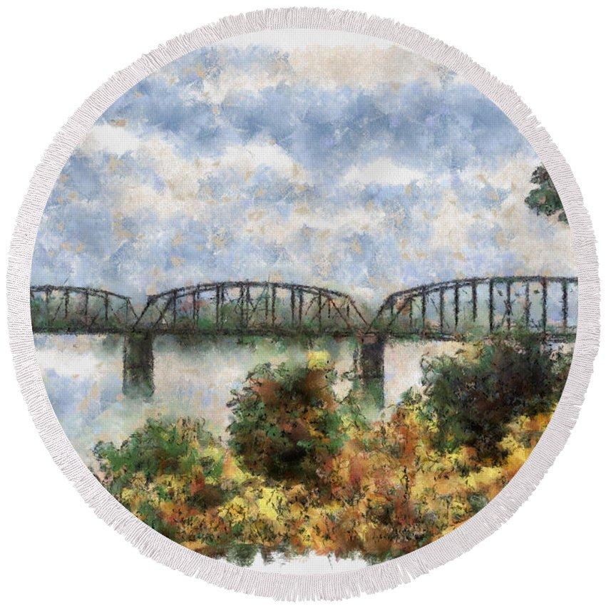 Strang Round Beach Towel featuring the painting Strang Bridge by Jeffrey Kolker
