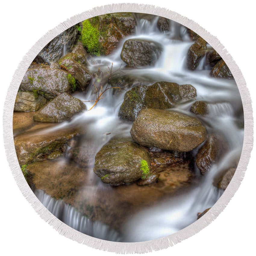 Mt Hood National Forest Round Beach Towel featuring the photograph Stranger Falls #3 by John Trax
