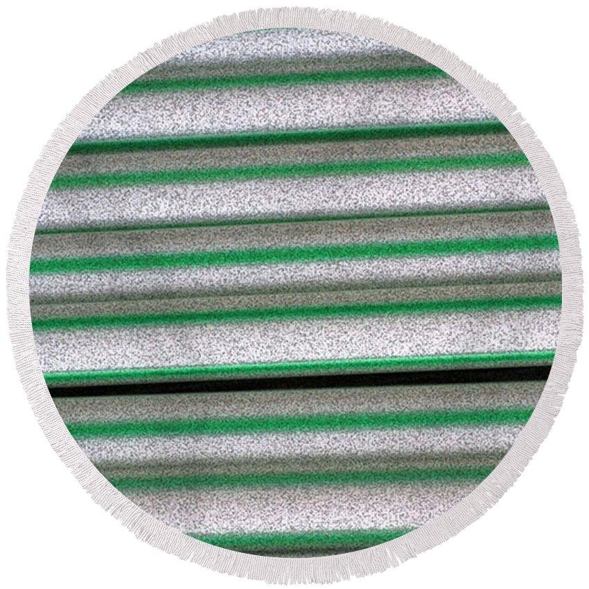Green Round Beach Towel featuring the digital art Straw Green by Carol Lynch