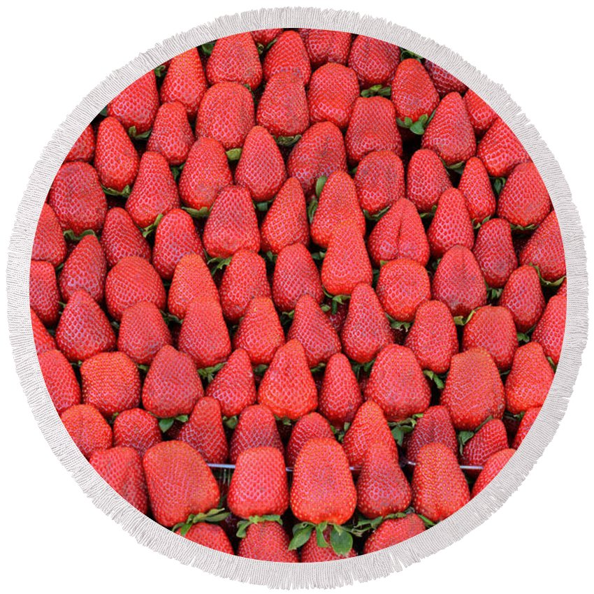 Strawberry Round Beach Towel featuring the photograph Strawberries by Grigorios Moraitis